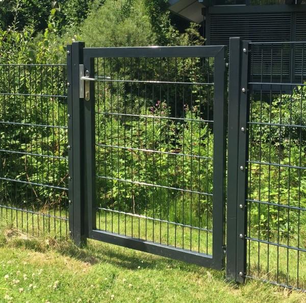 Gartentor / Zauntür Premium für Stabmattenzaun Breite 125cm x Höhe 80cm Farbe Anthrazit