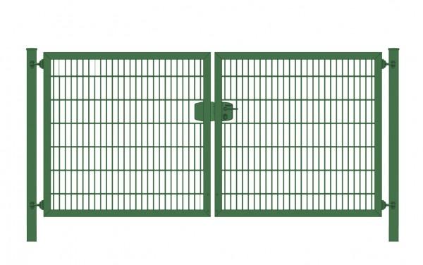Einfahrtstor Premium Plus 6/5/6 (2-flügelig) symmetrisch; Moosgrün RAL 6005 Doppelstabmatte; Breite 400 cm x Höhe 200 cm