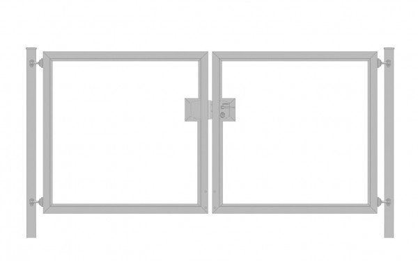 Einfahrtstor Premium (2-flügelig) symmetrisch für waagerechte Holzfüllung; Verzinkt; Breite 300 cm x Höhe 100cm