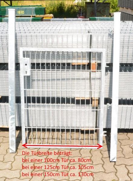 Gartentor / Zauntür Basic für Stabmattenzaun Verzinkt Breite (inkl. Pfosten) 125cm x Höhe 203cm