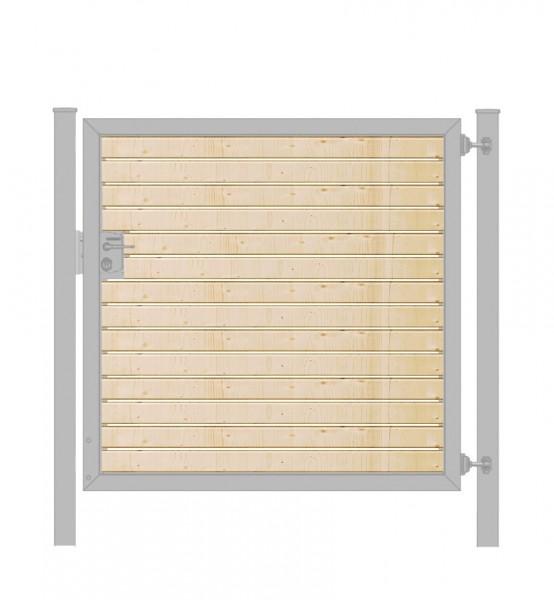 Gartentor / Zauntür Premium-Line mit Holzfüllung waagerecht Verzinkt Breite 125cm x Höhe 100cm