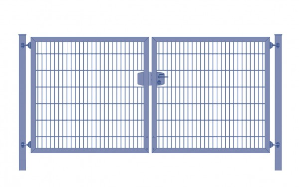 Einfahrtstor Premium Plus 6/5/6 (2-flügelig) symmetrisch; Anthrazit RAL 7016 Doppelstabmatte; Breite 250 cm x Höhe 200 cm