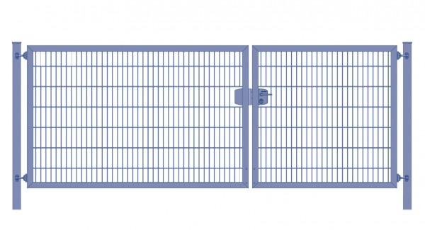 Einfahrtstor Premium Plus 8/6/8 (2-flügelig) asymmetrisch ; Anthrazit RAL 7016 Doppelstabmatte; Breite 250 cm x Höhe 140 cm