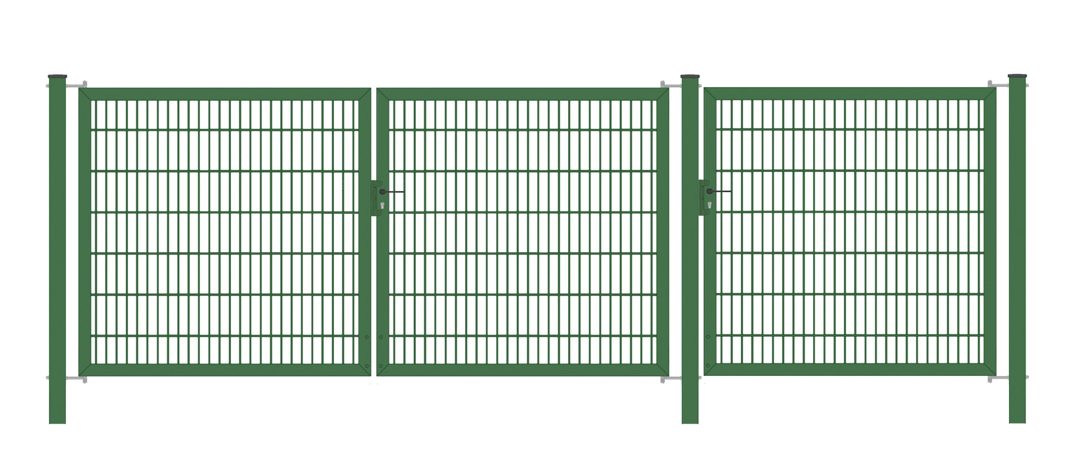 Einfahrtstor / Gartentor 22221 flügelig Classic Strong symmetrisch 2221 2221 2221;  Grün 21/21/21 mm Doppelstabmatte; Breite 222221 cm Höhe 22221 cm