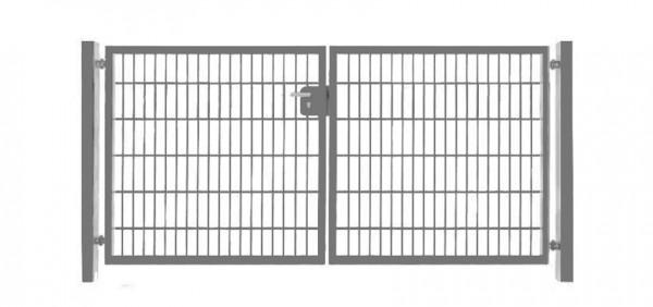 Einfahrtstor Basic (2-flügelig) symmetrisch ; Verzinkt Doppelstabmatte; Breite 400 cm x Höhe 143cm