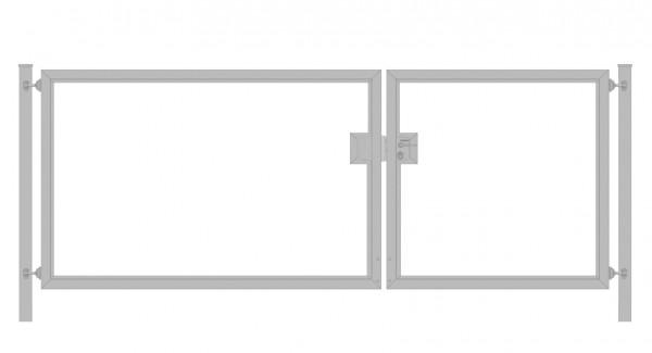 Einfahrtstor Premium (2-flügelig) asymmetrisch für waagerechte Holzfüllung; Verzinkt; Breite 350 cm x Höhe 100cm