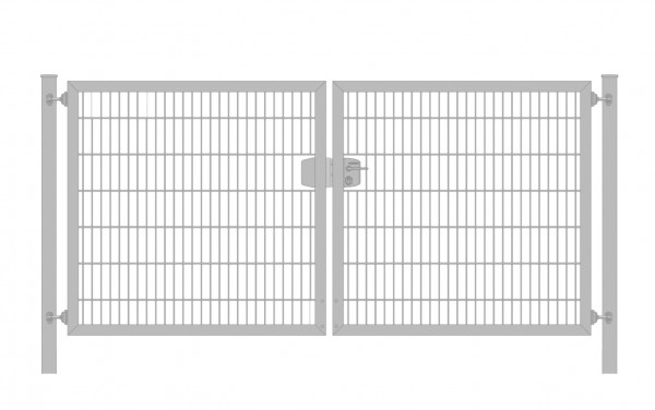 Einfahrtstor Premium Plus 6/5/6 (2-flügelig) symmetrisch; Verzinkt Doppelstabmatte; Breite 200 cm x Höhe 140 cm