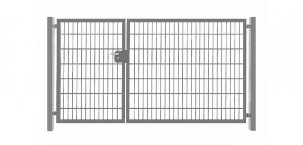 Einfahrtstor Basic (2-flügelig) asymmetrisch ; Verzinkt Doppelstabmatte; Breite 350 cm x Höhe 203cm