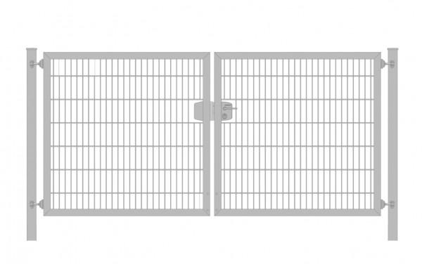Einfahrtstor Premium Plus 6/5/6 (2-flügelig) symmetrisch; Verzinkt Doppelstabmatte; Breite 250 cm x Höhe 140 cm