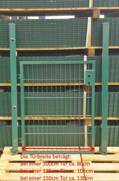 Gartentor / Zauntür Basic für Stabmattenzaun Moosgrün Breite (inkl. Pfosten) 100cm x Höhe 143cm
