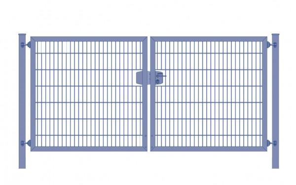 Einfahrtstor Premium Plus 6/5/6 (2-flügelig) symmetrisch; Anthrazit RAL 7016 Doppelstabmatte; Breite 200 cm x Höhe 200 cm