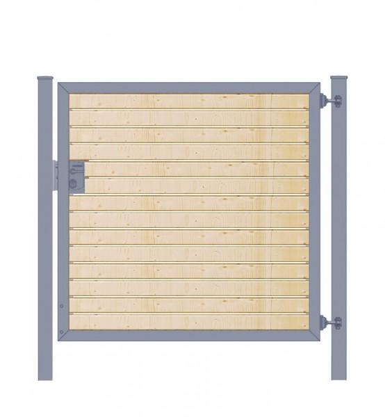 Gartentor / Zauntür Premium-Line mit Holzfüllung waagerecht Anthrazit Breite 125cm x Höhe 80cm