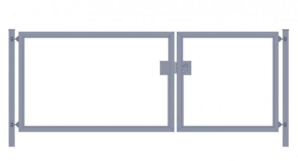 Einfahrtstor Premium (2-flügelig) asymmetrisch für senkrechte Holzfüllung; Anthrazit RAL 7016; Breite 300 cm x Höhe 140cm