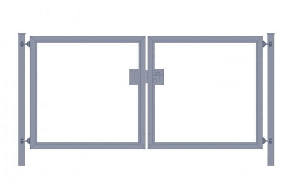 Einfahrtstor Premium (2-flügelig) symmetrisch für waagerechte Holzfüllung; Anthrazit RAL 7016; Breite 200 cm x Höhe 100cm