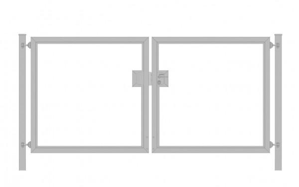 Einfahrtstor Premium (2-flügelig) symmetrisch für senkrechte Holzfüllung; Verzinkt; Breite 250 cm x Höhe 100cm