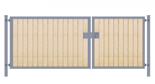 Einfahrtstor Premium (2-flügelig) asymmetrisch; mit Holzfüllung senkrecht; Anthrazit ; Breite 450 cm x Höhe 180cm