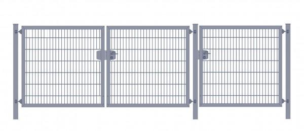 Premium Plus Einfahrtstor 6/5/6 (3-flügelig); Anthrazit Doppelstabmatte; Breite 300 cm (1m/ 1m/ 1m) x Höhe 100 cm