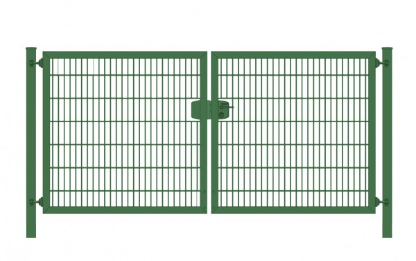 Einfahrtstor Premium Plus 6/5/6 (2-flügelig) symmetrisch; Moosgrün RAL 6005 Doppelstabmatte; Breite 350 cm x Höhe 200 cm