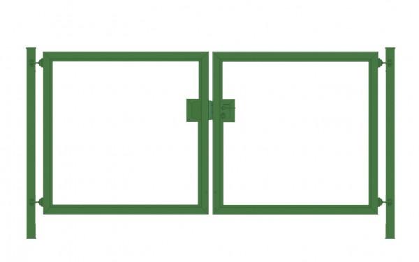Einfahrtstor Premium (2-flügelig) symmetrisch für waagerechte Holzfüllung; Moosgrün RAL 6005; Breite 200 cm x Höhe 100cm