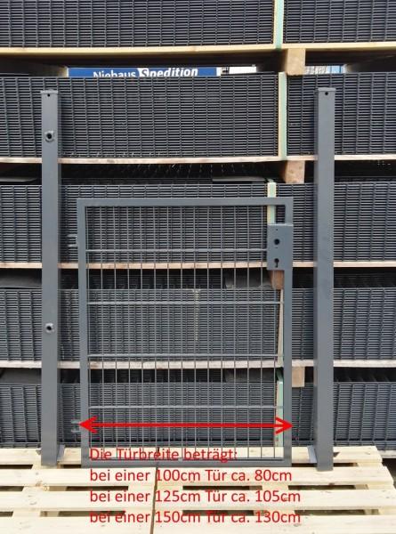 Gartentor / Zauntür Basic für Stabmattenzaun Anthrazit Breite (inkl. Pfosten) 125cm x Höhe 183cm