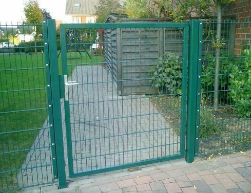 Elektrisches Gartentor Premium Breite 150cm Höhe 140cm Moosgrün