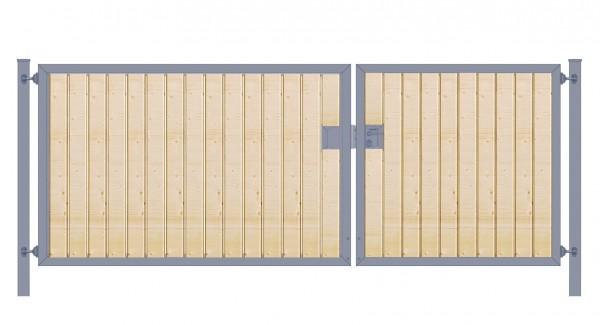 Einfahrtstor Premium (2-flügelig) asymmetrisch; mit Holzfüllung senkrecht; Anthrazit ; Breite 350 cm x Höhe 120cm