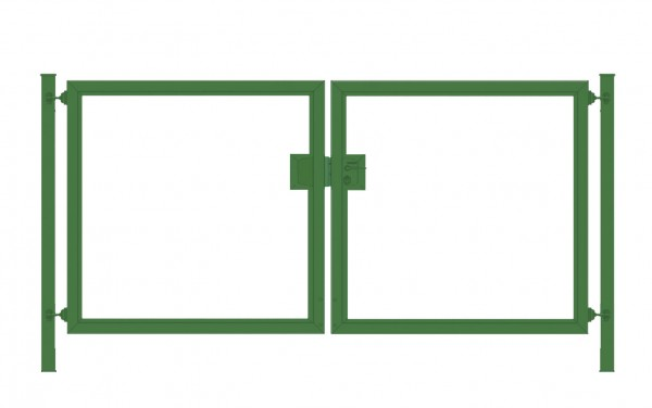 Einfahrtstor Premium (2-flügelig) symmetrisch für senkrechte Holzfüllung; Moosgrün RAL 6005; Breite 200 cm x Höhe 100cm