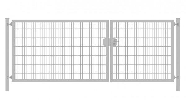 Einfahrtstor Premium Plus 6/5/6 (2-flügelig) asymmetrisch; Verzinkt Doppelstabmatte; Breite 400 cm x Höhe 140 cm